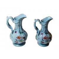 Jones and Walley, Staffordshire - A Pair of Exquisite Hand Painted Porcelain Pitchers dated 1843