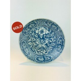 Large 17th Century, Ming Dynasty, Chinese Porcelain Swatow Ware Crane dish c.1608