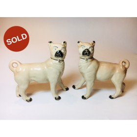 A Pair of Antique Staffordshire Standing Pug's circa 1890
