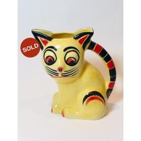 VERY RARE Czech/ Czechoslovakian Art Deco Yellow Cat Jug - Ditmar Urbach