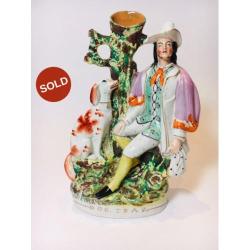 "Impressive Large Hand Painted Staffordshire Pottery Spill Vase ""Dog Tray"" c.1860"