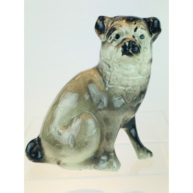 A Charming and Distinctive Bridgeness Pottery, Bo'ness, Staffordshire style, Pug Dog figurine, c.1925