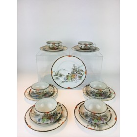 A Wonderfully Delicate Hand painted Japanese Taisho or early Showa Eggshell Porcelain Tea Set for 6 1920's - 1930's