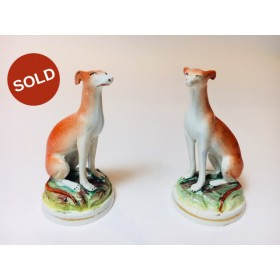 A Pair Hand Painted Antique Staffordshire Pottery Italian Greyhounds circa 1845