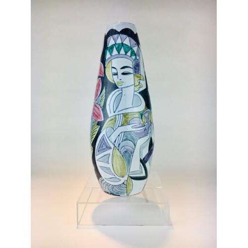 A fabulous rare tall Marian Zwadzki for Tilgman's Keramik hand painted Mid-Century Swedish Studio Pottery ceramic vase c.1950s.