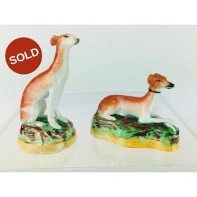 An Elegant pair of Hand Painted Antique Staffordshire Pottery Italian Greyhounds circa 1890