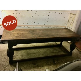 Stunning Antique Jacobean Revival Carved Oak Refectory Table circa 1830s